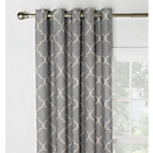 more details on Collection Trellis Lined Eyelet Curtains-168 x 183cm - Grey.