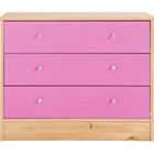 more details on New Malibu 3 Drawer Wide Chest - Pink on Pine.