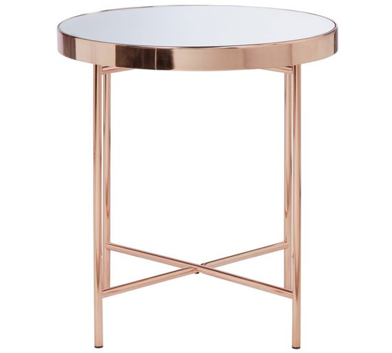buy collection round glass top side table copper plated. Black Bedroom Furniture Sets. Home Design Ideas