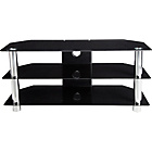 more details on Black Glass TV Stand with Chrome Legs - Up to 50 Inch.