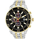 more details on Citizen Men's Eco Drive 2 Tone Black Chronograph Watch.