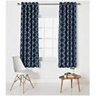 more details on Collection Trellis Lined Eyelet Curtains-168x183cm - Indigo.