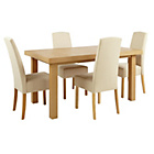 more details on Collection Langford Ext Table and 4 Chairs-Oak Veneer/Cream.