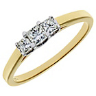 more details on 18ct Gold 0.33ct Diamond Princess Cut Ring - Size O.