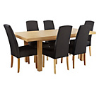 more details on Collection Langford Ext Table and 6 Chairs-Oak Veneer/Black.