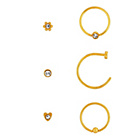 more details on Stainless Steel Gold Colour Nose Studs - Set of 6.