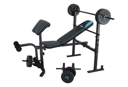 Men's Health Folding Bench with 35kg Weights