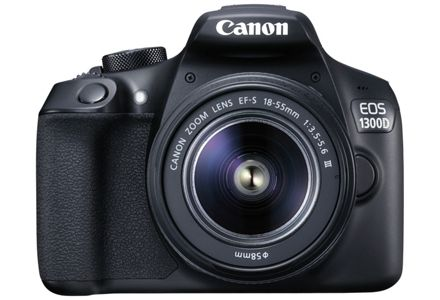 Cut out image of a Canon EOS 1300D DSLR with 18-55mm DC lens.