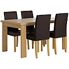 more details on HOME Wentworth Dining Table & 4 Chairs-Ash Veneer/Chocolate.