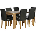 more details on HOME Wentworth Dining Table and 6 Chairs - Ash Veneer/Black.