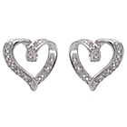 more details on Sterling Silver Diamond Accent Heart Studs.