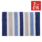 more details on Collection Coastal Bath Mat - Blue and Cream.