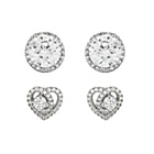more details on Sterling Silver CZ Heart and Halo Stud Earrings - Set of 2.