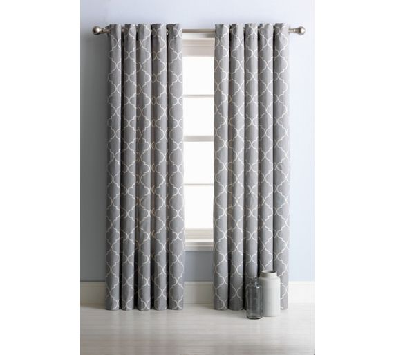 Buy Collection Trellis Lined Eyelet Curtains 117x137cm