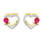 more details on 9ct Gold Created Ruby and Diamond Accent Heart Studs.