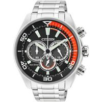 CitizenEco Drive Mens Chronograph Watch (Orange and Black)