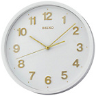 more details on Seiko White Plastic Wall Clock with Gold Number.