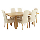 more details on Collection Langford Ext Table and 6 Chairs-Oak Veneer/Cream.