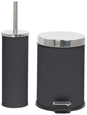 Buy collection bathroom accessory set black glitter at for Bathroom accessories argos