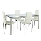 more details on Hygena Pluto Dining Table and 4 White Chairs.