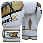 more details on RDX Synthetic 14oz Leather Boxing Gloves - Gold