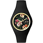 more details on Ice Unisex Flower Pattern Black Silicone Strap Watch.