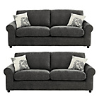 more details on HOME Tessa Large and Large Fabric Sofa - Charcoal.