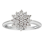 more details on Miracle Sparkle 9ct White Gold 0.10ct tw Diamond ClusterRing