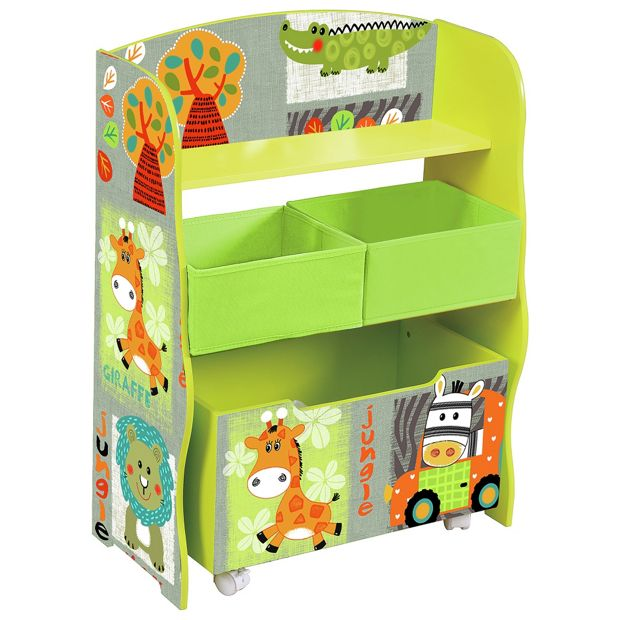 buy kid safari storage shelf with toy box at. Black Bedroom Furniture Sets. Home Design Ideas