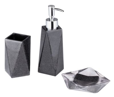 buy collection bathroom accessory set  black glitter at argos.co, Home design