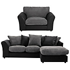 more details on HOME New Bailey Reg Right Cnr Sofa/Snuggler Chair-Charcoal