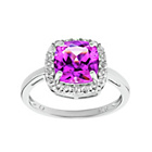 more details on Sterling Silver Created Pink Sapphire Cubic Zirconia Ring.