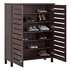 more details on HOME Large Slatted Shoe Cabinet - Mahogany Effect.