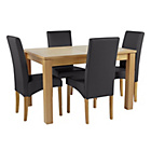 more details on Collection Swanbourne Ext Table & 4 Chairs-Oak Veneer/Black.