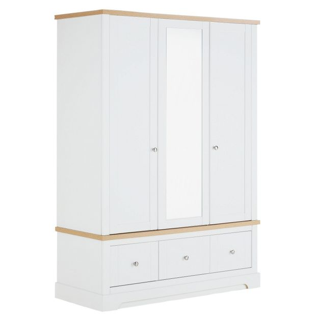 Buy Heart Of House Westbury 3 Door 3 Drawer Wardrobe White At Your Online Shop