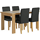 more details on HOME Wentworth Dining Table and 4 Chairs - Ash Veneer/Black.