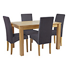 more details on Collection Swanbourne Table & 4 Chairs -Oak Veneer/Charcoal.