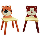 more details on Set of 2 Wooden Jungle Chairs - Bear and Tiger.