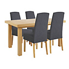 more details on Collection Langford Ext Table and 4 Chairs -Oak Veneer/Grey.