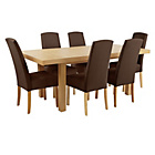 more details on Collection Langford Ext Table and 6 Chairs -Oak Veneer/Choc.