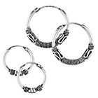 more details on Sterling Silver Bali Hoop Earrings - Set of 2.
