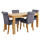 more details on Collection Sedgley Extendable Table and 4 Charcoal Chairs.
