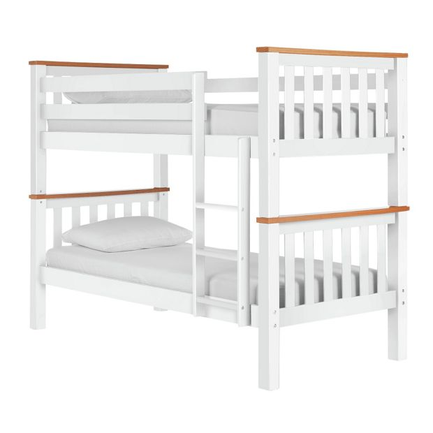 Buy heavy duty single bunk bed frame white and pine at - White and pine bedroom furniture ...
