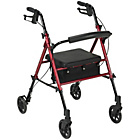 more details on Four Wheel Rollator with Adjustable Seat - Aluminium.