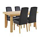 more details on Collection Langford Ext Table and 4 Chairs-Oak Veneer/Black.