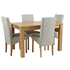 more details on Collection Swanbourne Oak Veneer Ext Table & 4 Chairs-Floral