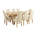 more details on Collection Langford Ext Table and 8 Chairs-Oak Veneer/Cream.