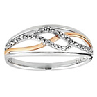 more details on 9ct Rose Gold Plated Silver Diamond Crossover Ring.