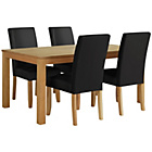more details on Collection Hampshire 160cm Dining Table & 4 Chairs-Oak/Black