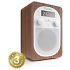 more details on Pure Evoke D2 DAB+/FM radio with wood casing and alarm.